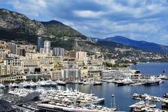 Vista aérea del puerto Hércules en el La Condamine y Monte Carlo Foto de archivo
