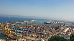 Vista aérea del puerto para los envases de Barcelona España Foto de archivo