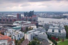 Vista aérea del puerto del ` s de Harburg imagen de archivo libre de regalías