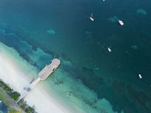 Vista aérea del puerto Stephens del embarcadero de la bahía del bajío Fotos de archivo