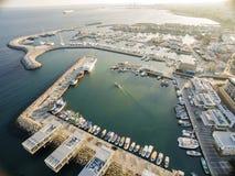 Vista aérea del puerto viejo de Limassol, Chipre Imágenes de archivo libres de regalías