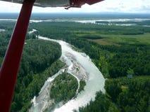 Vista aérea del río de Kantisna Fotografía de archivo libre de regalías