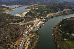 Vista aérea del río Guadiana Imagen de archivo