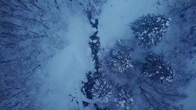 Vista aérea del río del invierno almacen de video