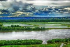 Vista aérea del río Irtysh Rusia Siberia Imágenes de archivo libres de regalías