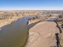 Vista aérea del río South Platte Imágenes de archivo libres de regalías