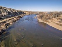 Vista aérea del río South Platte Foto de archivo