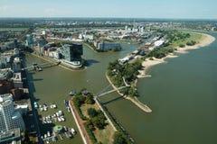 Vista aérea del sseldorf del ¼ de DÃ, Alemania foto de archivo