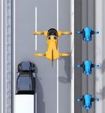 Vista aérea del taxi anaranjado del abejón del pasajero que vuela sobre la flota de los abejones y del camión de la entrega que c stock de ilustración