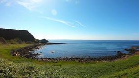 Vista aérea del terraplén de Giants la señal más popular y más famosa de Irlanda del Norte Costa de Océano Atlántico y del agua t almacen de metraje de vídeo