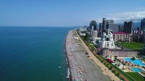 Vista aérea del terraplén en Batumi, Georgia almacen de metraje de vídeo