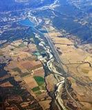 Vista aérea del valle meridional de Rhone, Provence Francia Imagen de archivo