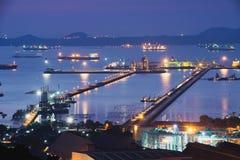 Vista aérea do armazém no porto imagem de stock royalty free