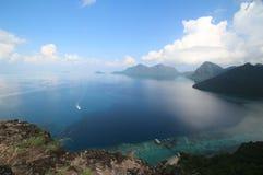 Vista aérea do Bohey famoso Dulang situado em Semporna, Sabah, Malásia Fotos de Stock