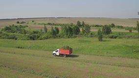 Vista aérea do caminhão que move-se no campo agrícola Maquinaria agrícola em colher o campo video estoque