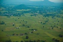 Vista aérea do campo com campos das colheitas Imagens de Stock Royalty Free