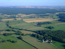 Vista aérea do campo francês Yonne norte Fotografia de Stock Royalty Free