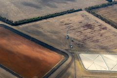 Vista aérea do campo vitoriano, Austrália fotografia de stock