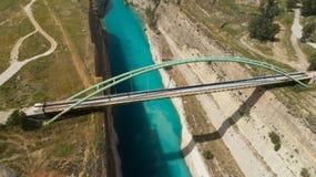 Vista aérea do canal famoso de Corinth do istmo, Peloponnese Foto de Stock Royalty Free