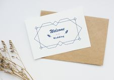 Vista aérea do cartão do convite do casamento fotos de stock