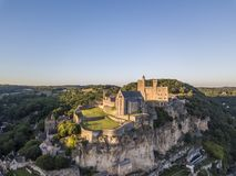 Vista aérea do castelo de Beynac fotografia de stock