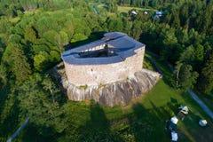 Vista aérea do castelo medieval da fotografia aérea de Raseborg Snapertuna, Finlandia fotos de stock