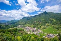 Vista aérea do conjunto de Nanxi Tulou em fujian, porcelana fotografia de stock royalty free
