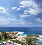 Vista aérea do console bonito de Chipre fotografia de stock royalty free