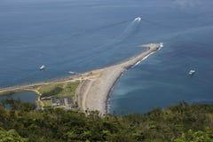 Vista aérea do cuspo do mar imagem de stock