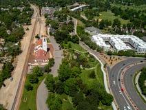 A vista aérea do depósito de trem em Boise Idaho com árvore encheu p Foto de Stock