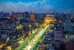 Vista aérea do dori e do sensoji do nakamise em tokyo imagens de stock royalty free