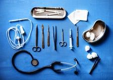 Vista aérea do equipamento médico imagem de stock