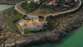 Vista aérea do farol de Cullera, Valência spain video estoque