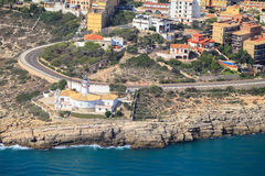 Vista aérea do farol espanhol da costa em Cullera Fotografia de Stock