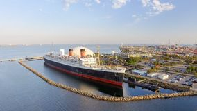 Vista aérea do forro de oceano do RMS Queen Mary, Long Beach, CA Fotografia de Stock
