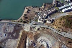 Vista aérea do furo e do shor da sujeira de San Francisco Candlestick Park imagem de stock royalty free