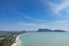 Vista aérea do golfo de Prajuap Fotos de Stock