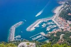 Vista aérea do habor de Maratea, Basilicata, Itália Imagens de Stock Royalty Free