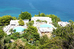 Vista aérea do hotel de Marbella, Corfu, Grécia Foto de Stock