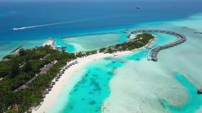 Vista aérea do hotel de resort da ilha tropical com as palmeiras brancas da areia e do Oceano Índico de turquesa em Maldivas vídeos de arquivo