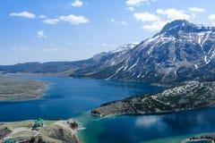 Vista aérea do hotel e do lago do príncipe de Gales imagens de stock