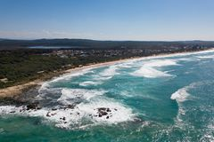Vista aérea do lago Cathie, NSW, Austrália Foto de Stock