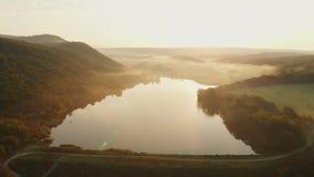 Vista aérea do lago com névoa video estoque