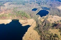 Vista aérea do lago e da floresta bonitos, Polônia foto de stock