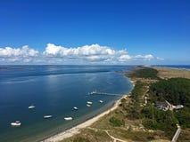 Vista aérea do litoral nacional da vigia do cabo, North Carolina imagens de stock royalty free