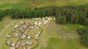 Vista aérea do local arqueológico de Kernave video estoque