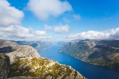 Vista aérea do Lysefjord imagens de stock royalty free