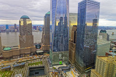 Vista aérea do memorial nacional do 11 de setembro no distrito financeiro Imagem de Stock Royalty Free