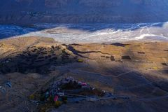 Vista aérea do monastério chave no vale de Spiti, Himachal Pradesh, Índia fotografia de stock