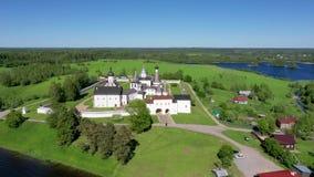 Vista aérea do monastério de Ferapontov, Rússia vídeos de arquivo